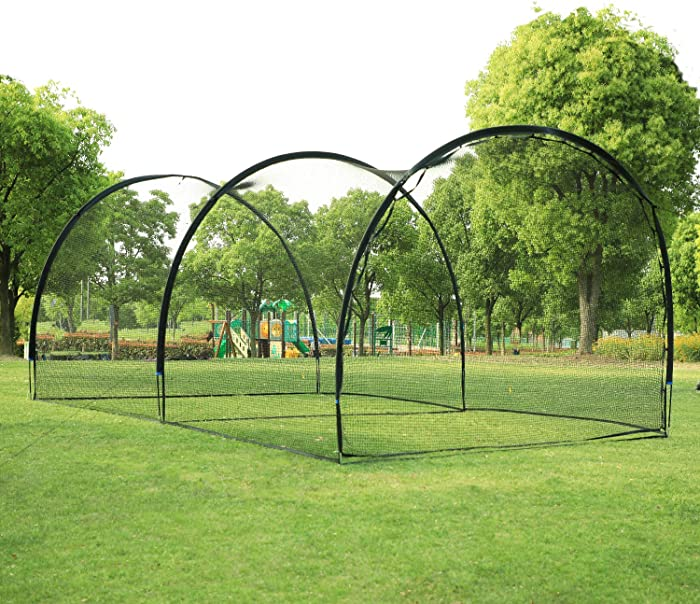 ORIENGEAR 20FT Baseball Batting Cage Net and Frame Softball Hitting Cage Netting for Pitching Training in The Backyard