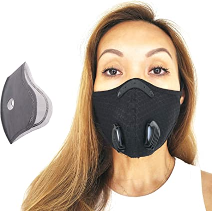 Reusable Face Coverings with Valves,Unisex Mouth Bandanas for Allergies Woodworking Running Mowing