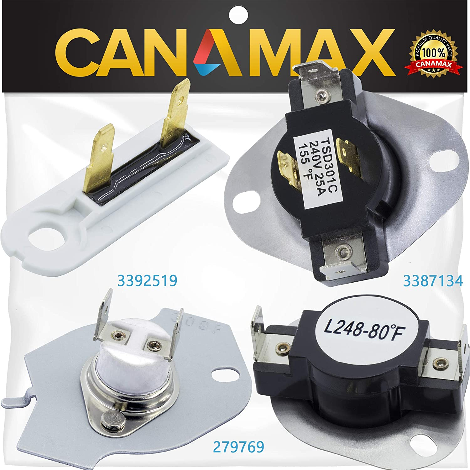 279769 & 3387134 & 3392519 Dryer Thermal Cut-off Fuse & Thermostat COMPLETE Kit Premium Replacement by Canamax - Compatible with Whirlpool Kenmore Dryers - Replaces 3977394 3390291 PS345113 AP6008325