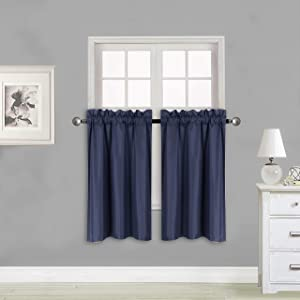 """Elegant Home 2 Panels Tiers Small Window Treatment Curtain Insulated Blackout Drape Short Panel 28"""" W X 36"""" L Each for Kitchen Bathroom or Any Small Window # R5 (Navy Blue)"""