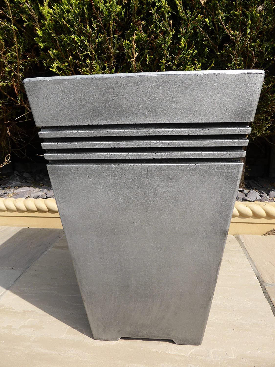 Large Plastic Planters Uk Part - 31: UK-Gardens Antique Grey Resin Plastic Garden Planters - Tall Large Square  Grey Garden Planter