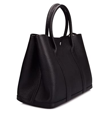 4cdf54c3a6 Ainifeel Women s Genuine Leather Top Handle Handbag Shopping Bag Tote Bag  (Black)