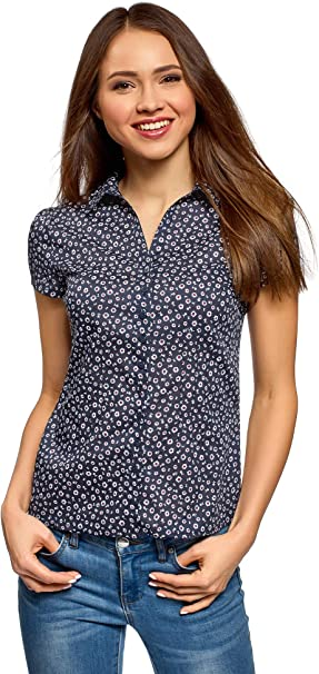 oodji Collection Mujer Camisa Entallada de Algodón, Azul, ES 44 / XL: Amazon.es: Ropa y accesorios