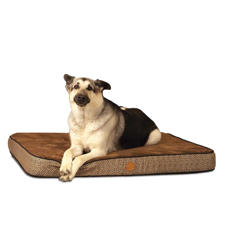 K&H Manufacturing Orthopedic Superior Pet Bed, Medium, 30-Inch by 40-Inch, Mocha Paw Bone Print