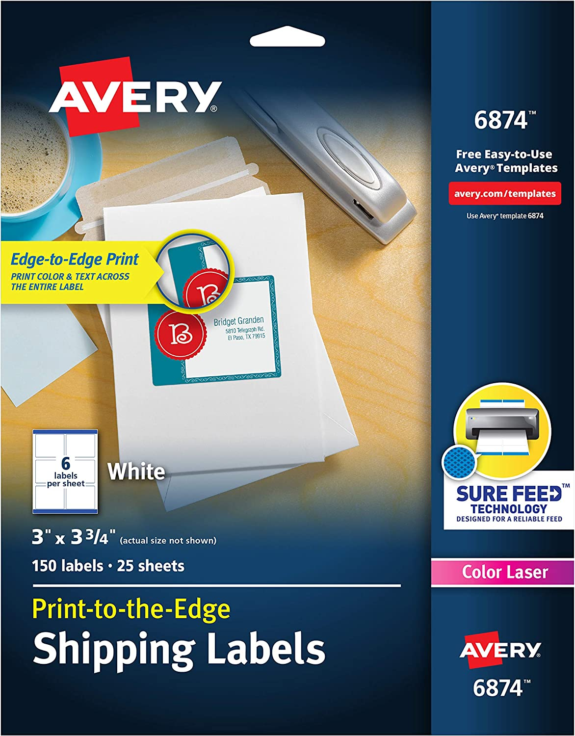 "Avery Shipping Labels with Sure Feed, Print-to-the-Edge, 3"" x 3-3/4"", 150 White Labels (6874)"