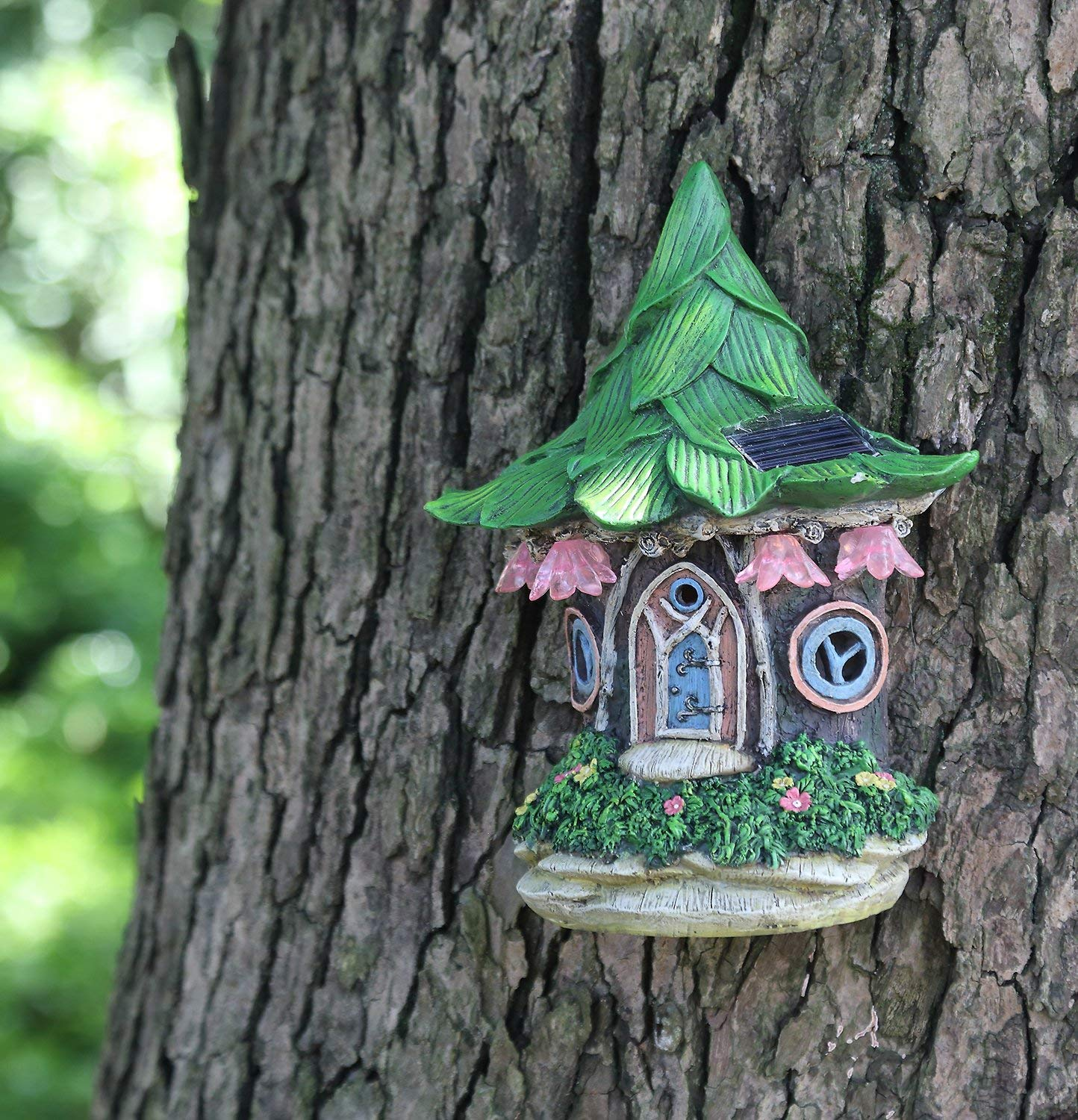 Ivy Home Solar Powered Garden Fairy Statues Tree Hanging Resin Fairy House by Ivy Home (Image #3)
