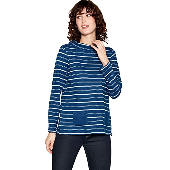 a655f069776b1 Mantaray Womens Blue Stripe Cotton Rich Top  Mantaray  Amazon.co.uk   Clothing