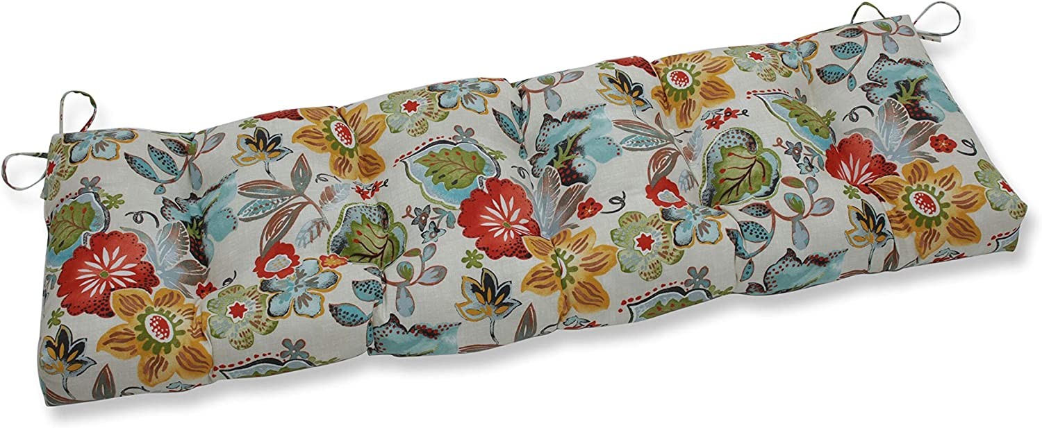 "Pillow Perfect Outdoor/Indoor Alatriste Ivory Tufted Bench/Swing Cushion, 56"" x 18"", Floral"