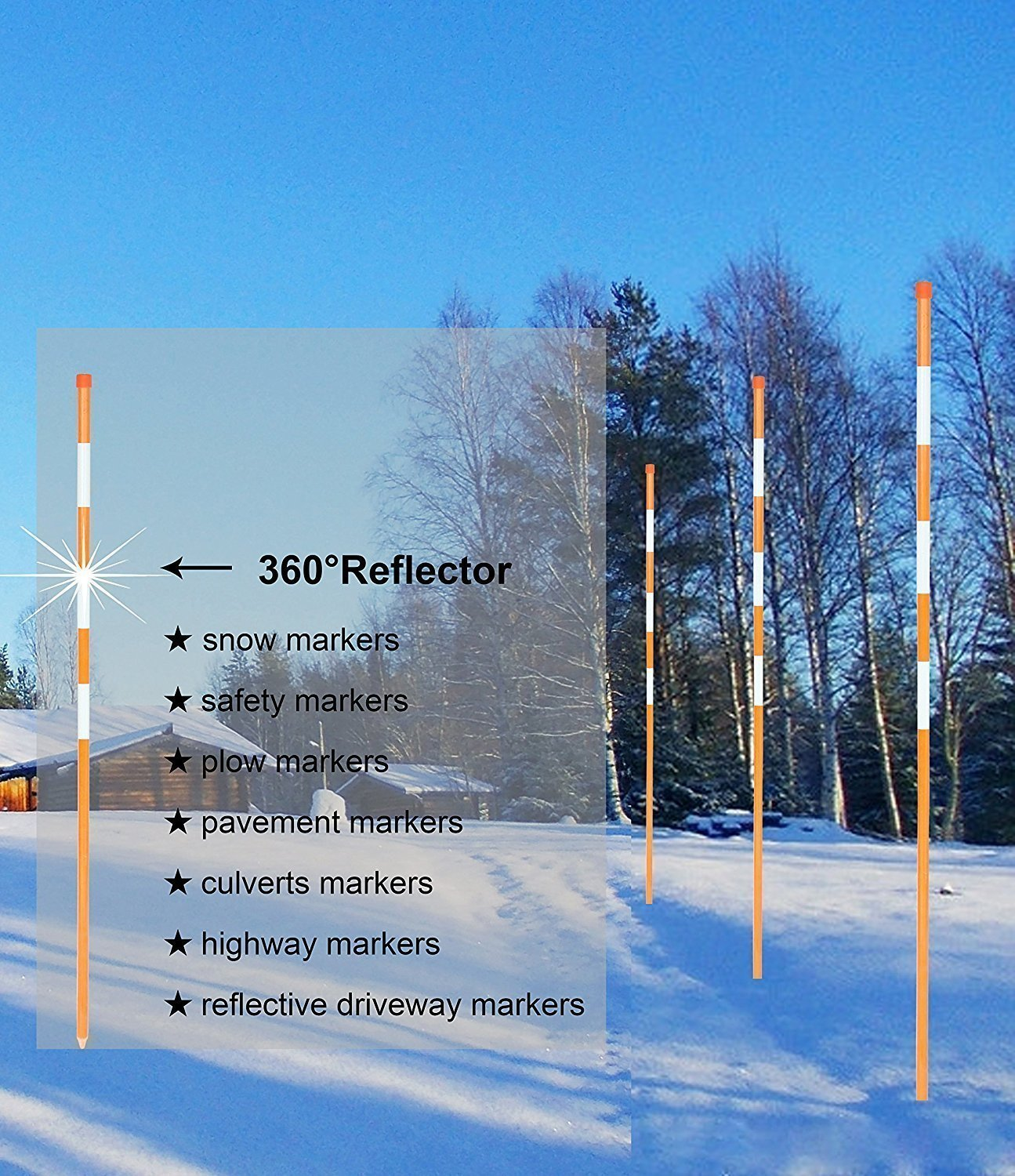 FiberMarker Driveway Markers 60Inch 50pack Orange 1/4Inch Dia Hollow with 3pc 7'' Reflective Tape Driveway Poles for Easy Visibility at Night by FiberMarker