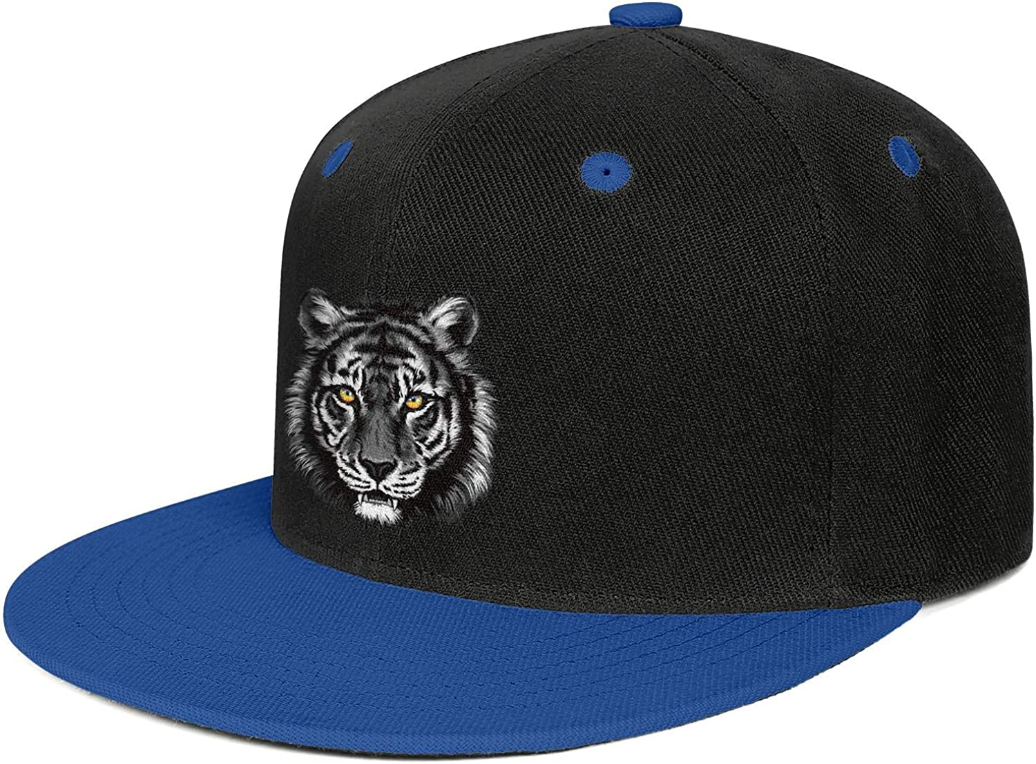 Gray Tiger Colorful Eye Mens Womens Trucker Hats Vintage Snapback Flat Bill Cap