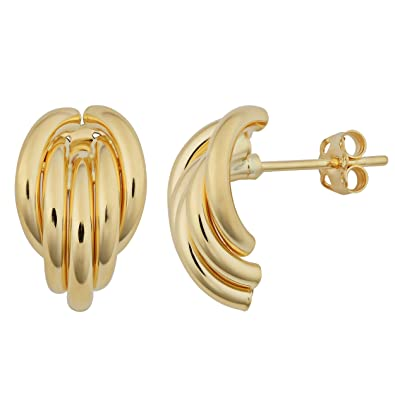 9d407b1170e84 Amazon.com: 18k Yellow Gold Half Hoop Post Earrings: Jewelry