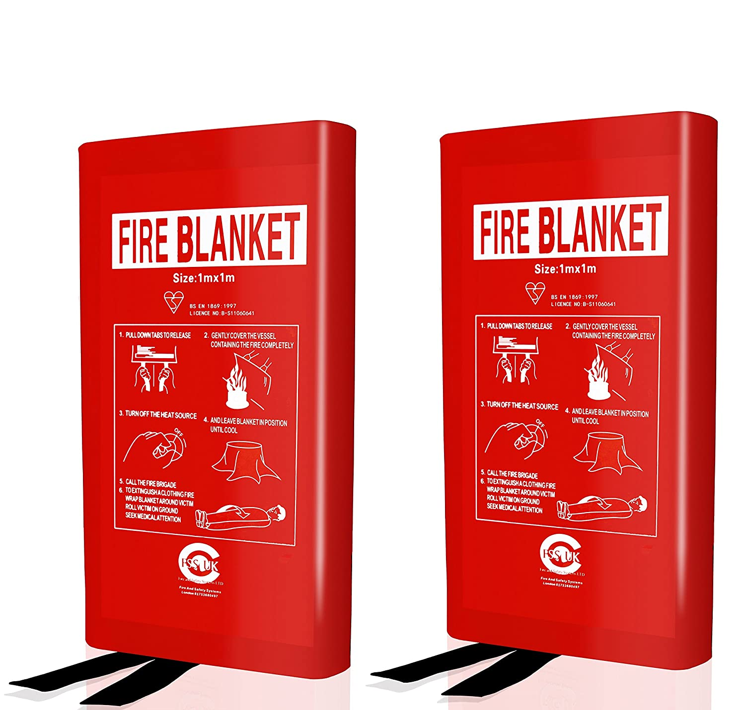2 X FSS UK 1 METER X 1 METER Fire Blanket Large Quick Release Safety Fighting Tabs Case Or Hard Box 1M X 1M. CE AND EN3 MARKED. (HARD CASE)