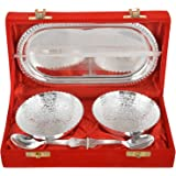 M.G.R.J German Silver Set of Bowl's With Spoon's And Tray beautiful precious gift (2, Silver)