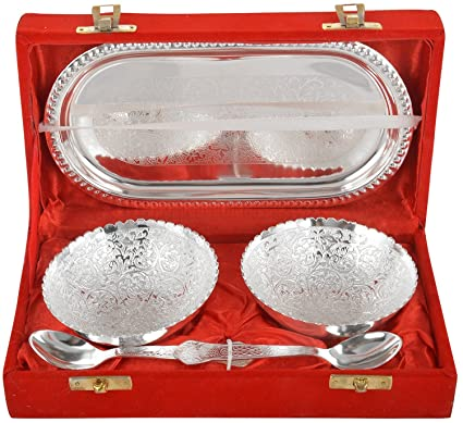 M.G.R.J German Silver Set Of Bowls With Spoons And Tray beautifull precious gift