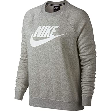 Nike Womens Rally HBR Crew Neck Sweatshirt Grey Heather White  930905-050-Size 2dd8337ae
