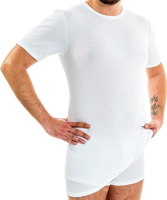HERMKO 3847 Camiseta de Manga Corta Extra Larga para Hombre (+10 cm), Camiseta Interior de Manga 1/4, 100% algodón (canalé Fino): Amazon.es: Ropa y accesorios