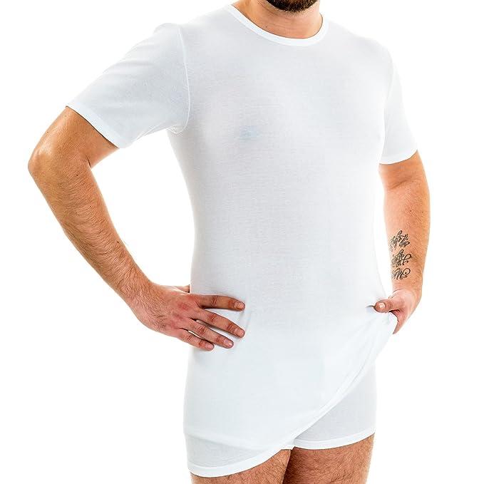 HERMKO 3847 Herren extralanges kurzarm Shirt (+10cm) Unterhemd mit 1 4 Arm  aus 100% Baumwolle (Feinripp)  Amazon.de  Bekleidung 6ea49e4e84