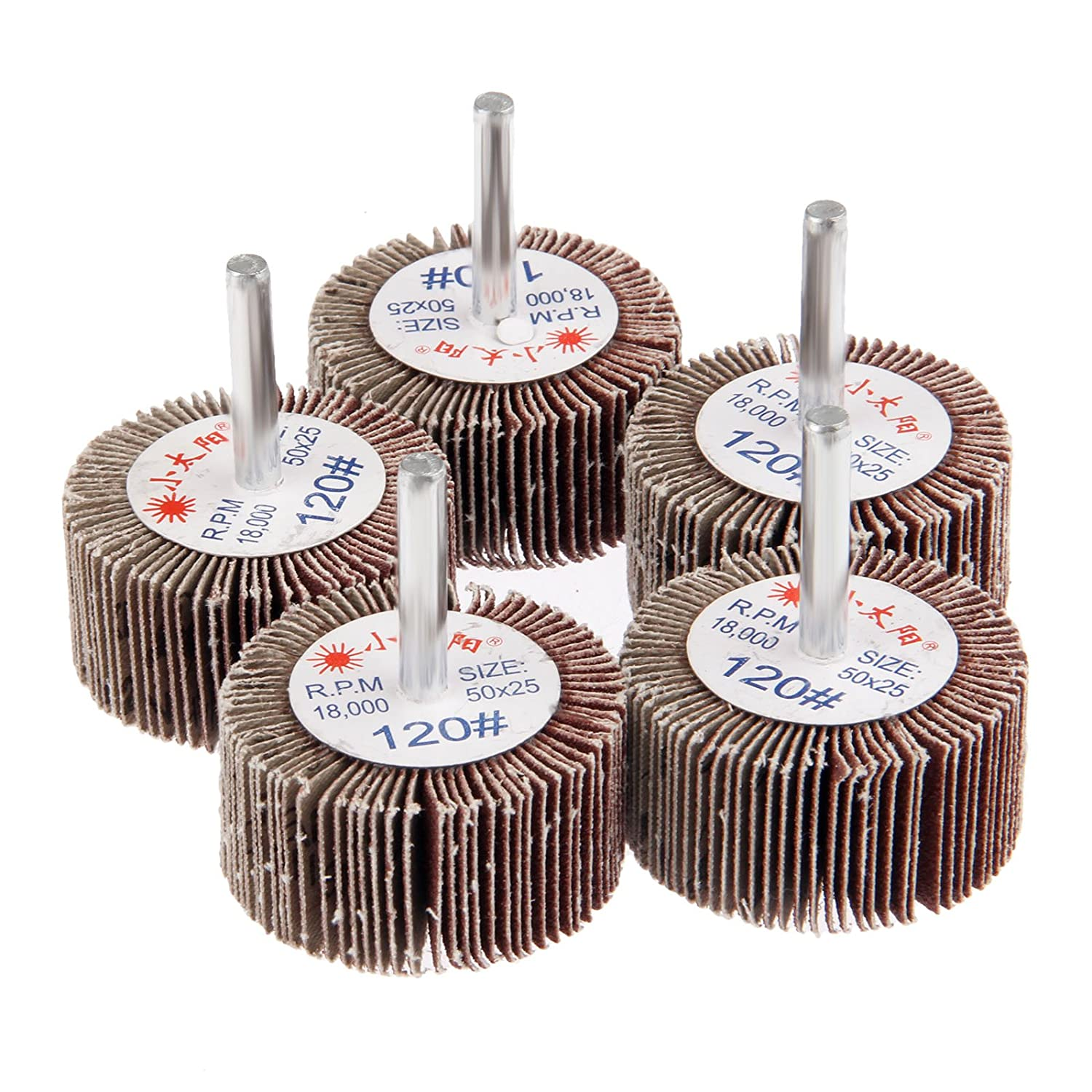 Dophee 5Pcs 120# Grit 50x25x6mm Sanding Grinding Aluminum Oxide Flap Wheels For Rotary Tools