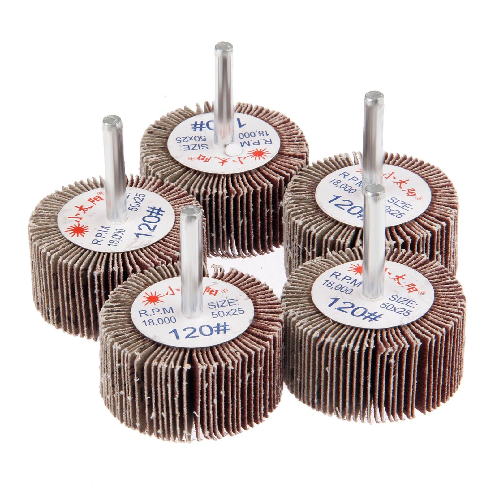 Dophee 5Pcs 120# Grit 50x25x6mm Sanding Grinding Aluminum Oxide Flap Wheels For Rotary Tools