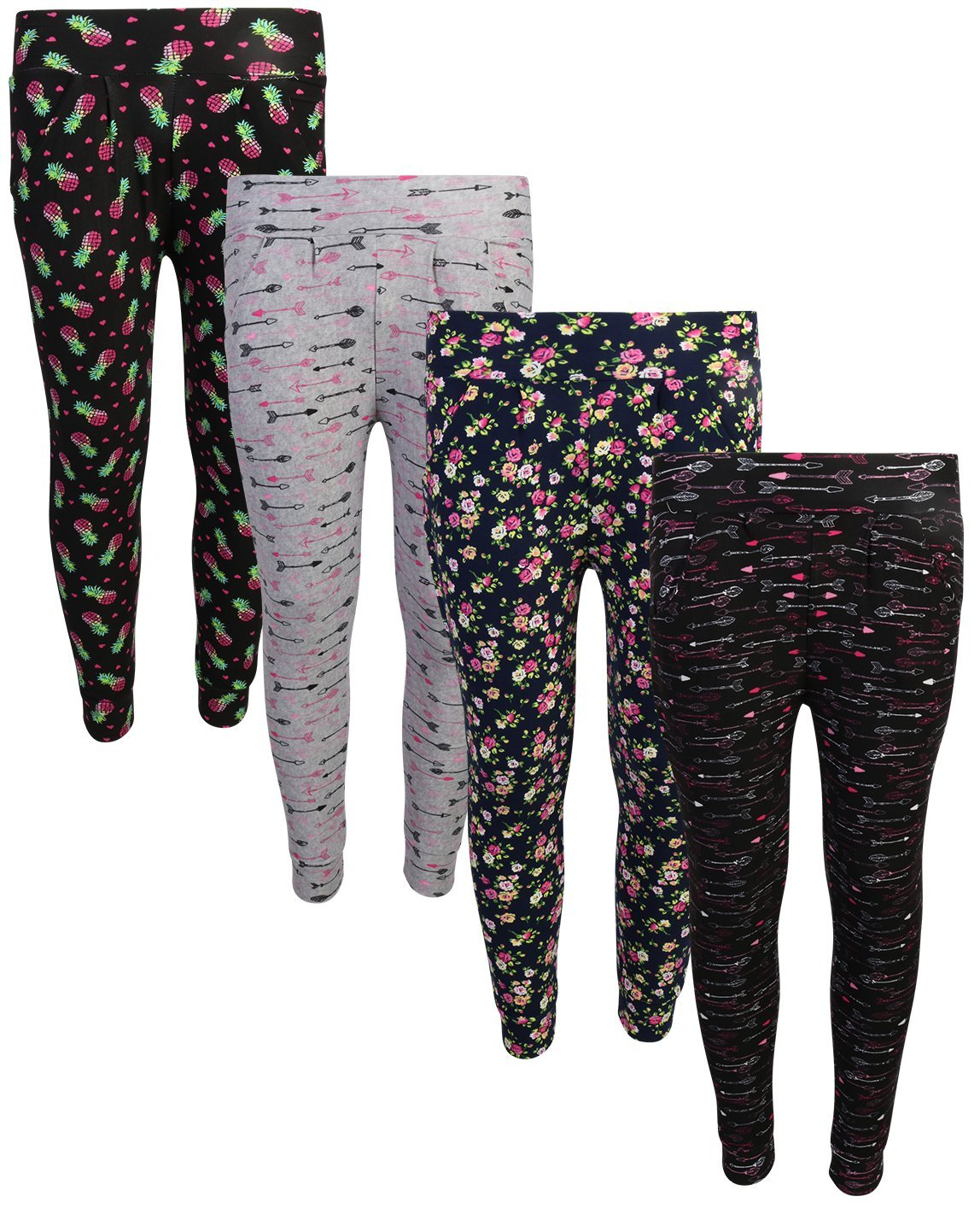 Real Love Girls Yummy Jogger Pants (4 Pack) Flower/Arrow/Pineapple, Size 5/6'