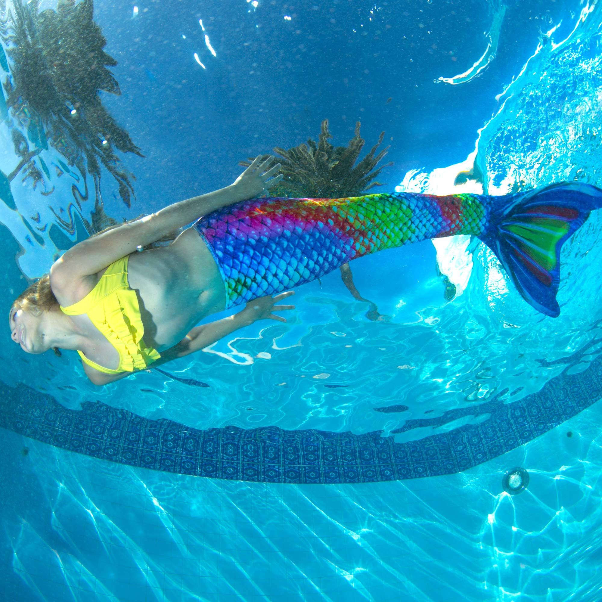 Fin Fun Mermaid Tail, Reinforced Tips, with Monofin, New Rainbow Reef, Adult XS by Fin Fun (Image #5)