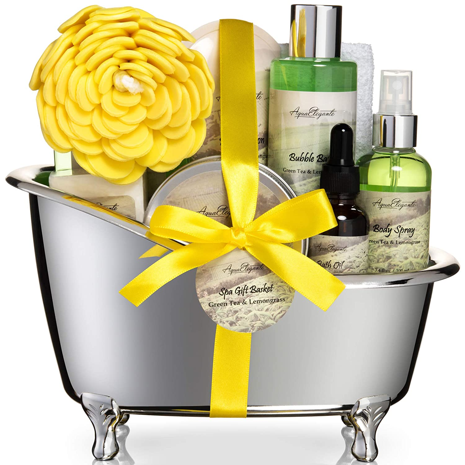 Spa Gift Baskets For Women - Luxury Bath Set With Green Tea & Lemongrass - Spa Kit Includes Body Wash, Bubble Bath, Lotion, Body Butter, Soap, Body Spray, Shower Puff, and Towel, Large