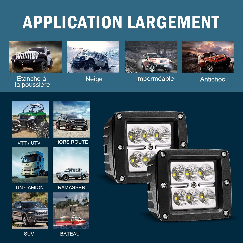 18W 3In Fernlicht 12V-24V Reflektor Lampen Scheinwerfer R/ückfahrscheinwerfer Led Zus/ätzlichen Flutlicht Vorderseite Sto/ßf/änger Dachtr/äger Arbeitsscheinwerfer Zusatzscheinwerfer PKW Traktor Off Road