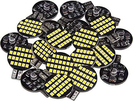 Pack of 20 Pure White 12V 24-SMD Wedge Lamp For Boat RV Trailer Camper Motorhome Ceiling Dome Interior Light 20x Super Bright 921 194 T10 LED Bulb