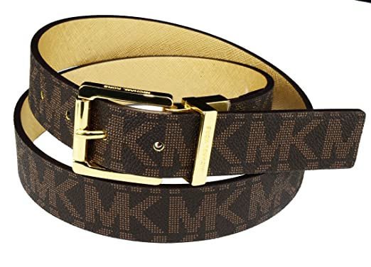 21a47215d7c7 Image Unavailable. Image not available for. Color  Michael Kors Womens  Reversible MK Logo Gold Buckle Brown Gold Belt Medium