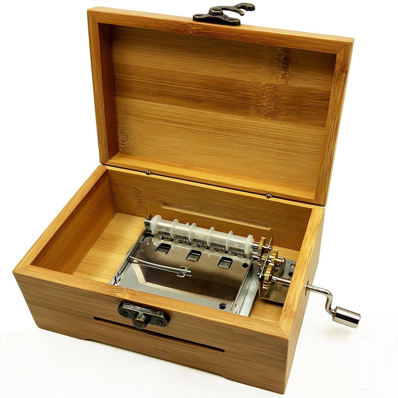 ingranaggi in rame Wingostore Meccaniche per carillon a manovella con 30 note kit per creare uno strumento musicale fai da te With Bamboo Box