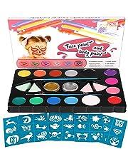 amzdeal Pintura Facial con 14 Colores Pintura Cara para la Fiesta Navidad Kit de Pintura Maquillaje como Regalos de los niños con Polvo Brillo*2, Pigmento*14 y Pincel*2