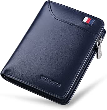 WILLIAMPOLO Men Wallets Genuine Leather Slim Wallet Mens Short Money Clips Small Coin Pocket Bifold Credit Card Holder Thin Purse with ID Window