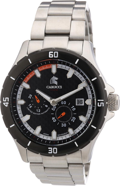 Carucci Watches CA2187ST-OR - Reloj analógico automático para hombre, correa de acero inoxidable color plateado (agujas luminiscentes, cifras luminiscentes)