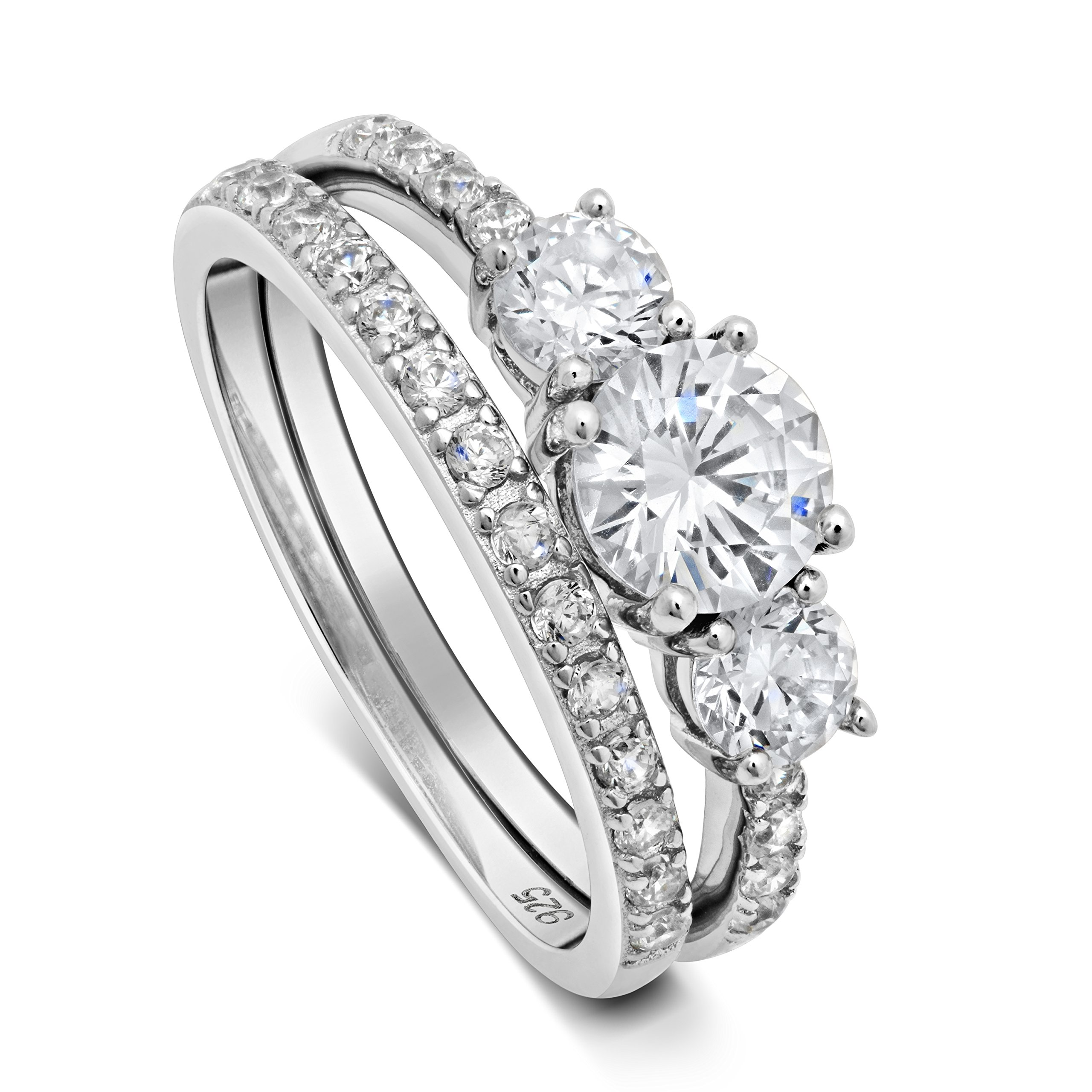 DTLA Sterling Silver ''Past, Present, Future'' Three Stone CZ Double Band Engagement Wedding Set (8)