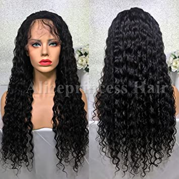 Aliceprincess 8a Curly Full Lace Human Hair Wigs For Black Women Natural Black Wet Wavy Virgin
