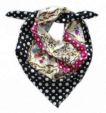 abb2f4910c09 LIDA LYDI Foulard carré 90cm X 90cm, Twill de 100% Soie, Couleur Rose