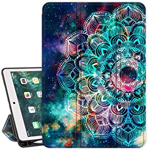 Lamcase iPad 9.7 2017/2018 Case iPad 6th/5th Generation Smart Case with Apple Pencil Holder Slim Folio Stand Auto Sleep/Wake Soft TPU Back Cover for iPad A1893/A1954/A1822/A1823, Mandala/Galaxy