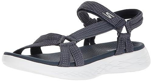 6e3deb2860a25 Skechers Women's Go 600 15316-nvy Ankle Strap Sandals: Amazon.co.uk ...