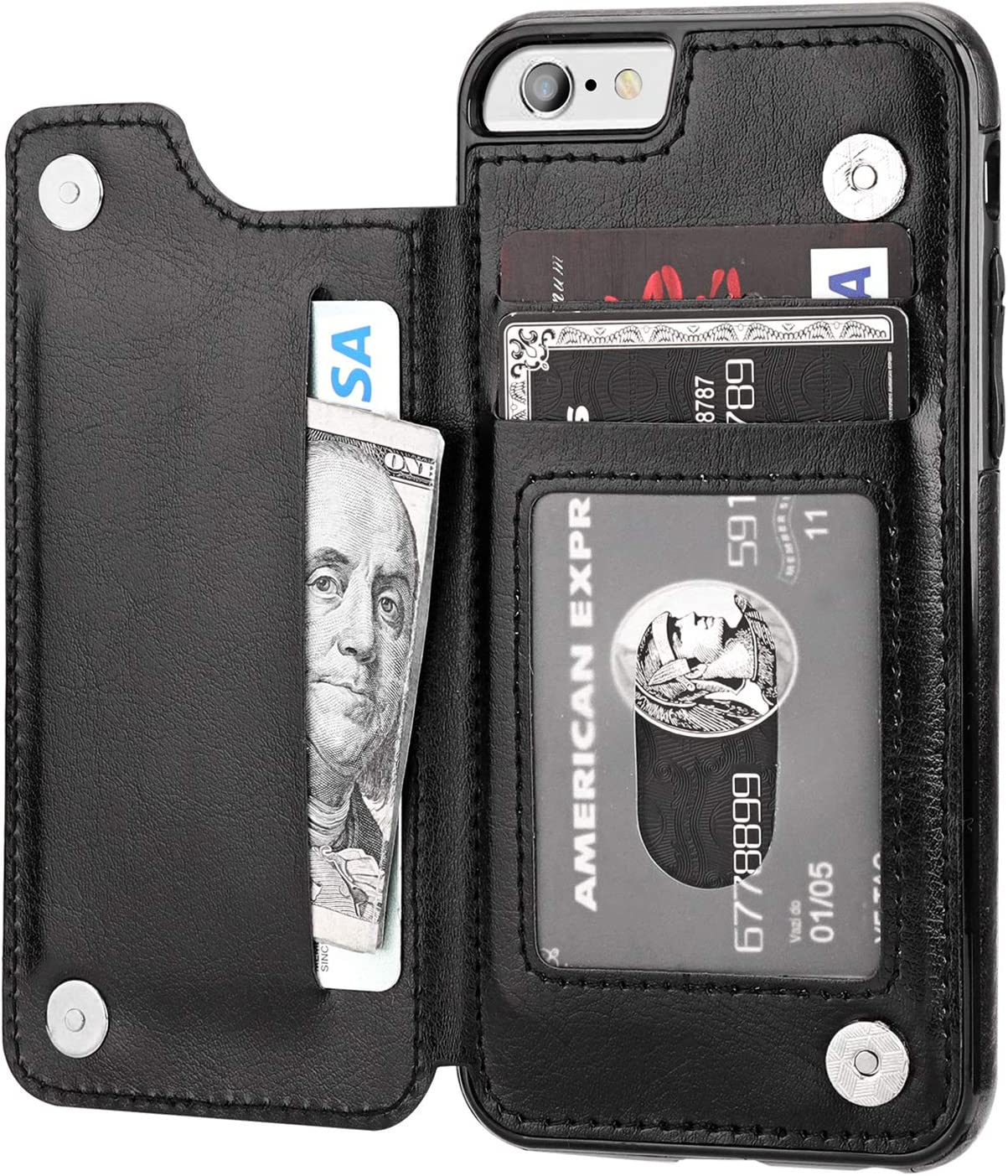 iPhone 6s Wallet Case with Card Holder,OT ONETOP iPhone 6 Case Wallet Premium PU Leather Kickstand Card Slots,Double Magnetic Clasp Durable Shockproof Cover 4.7 Inch(Black)