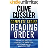 CLIVE CUSSLER COMPLETE SERIES READING ORDER: Dirk Pitt, NUMA Files, Oregon Files, Isaac Bell, Fargo Adventures, Nicefolk…