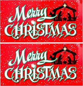 Bigtime Signs Merry Christmas Nativity Scene Car Magnet - Holy Family Holiday Decoration - 2 Pack | 4 inch x 8 inch