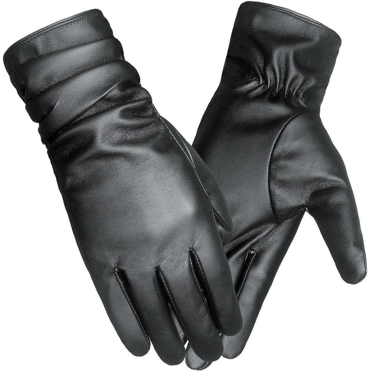 LETHMIK Winter Faux Leather Gloves Womens Driving Touchscreen Texting with Long Wrinkle Sleeves Black-L