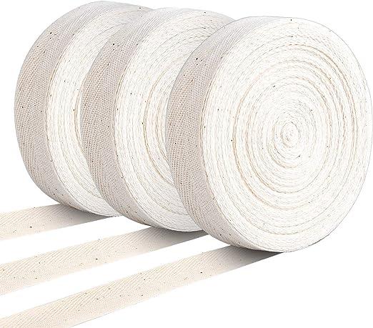 KONUNUS Cinta de sarga de algodón de 82 yardas, cinta de espiga, cinta de cincha natural para manualidades, envolver regalos, decoración del hogar, costura: Amazon.es: Hogar