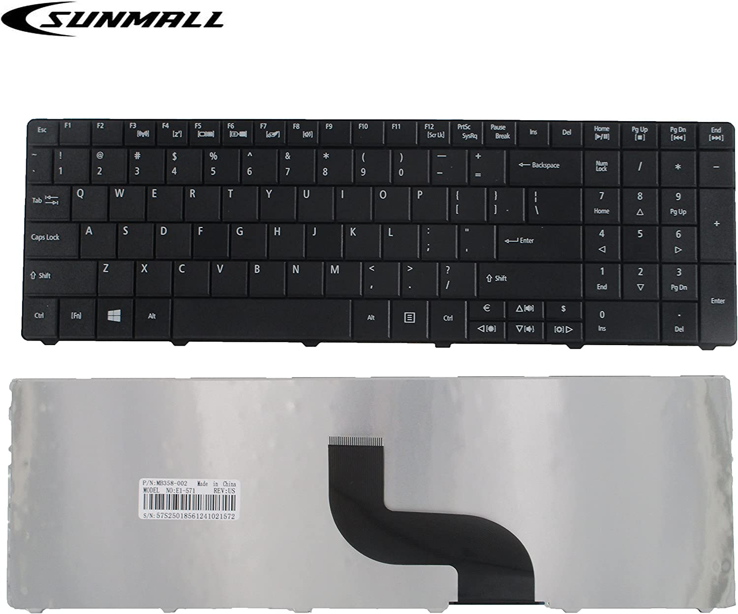 SUNMALL Keyboard Replacement for Acer Aspire E1-521 E1-531 E1-531G E1-571 E1-571G Travelmate P253-E P253-M 8571 8531 8751G 8572 5742Z 5744 5744Z Series Laptop Black US Layout