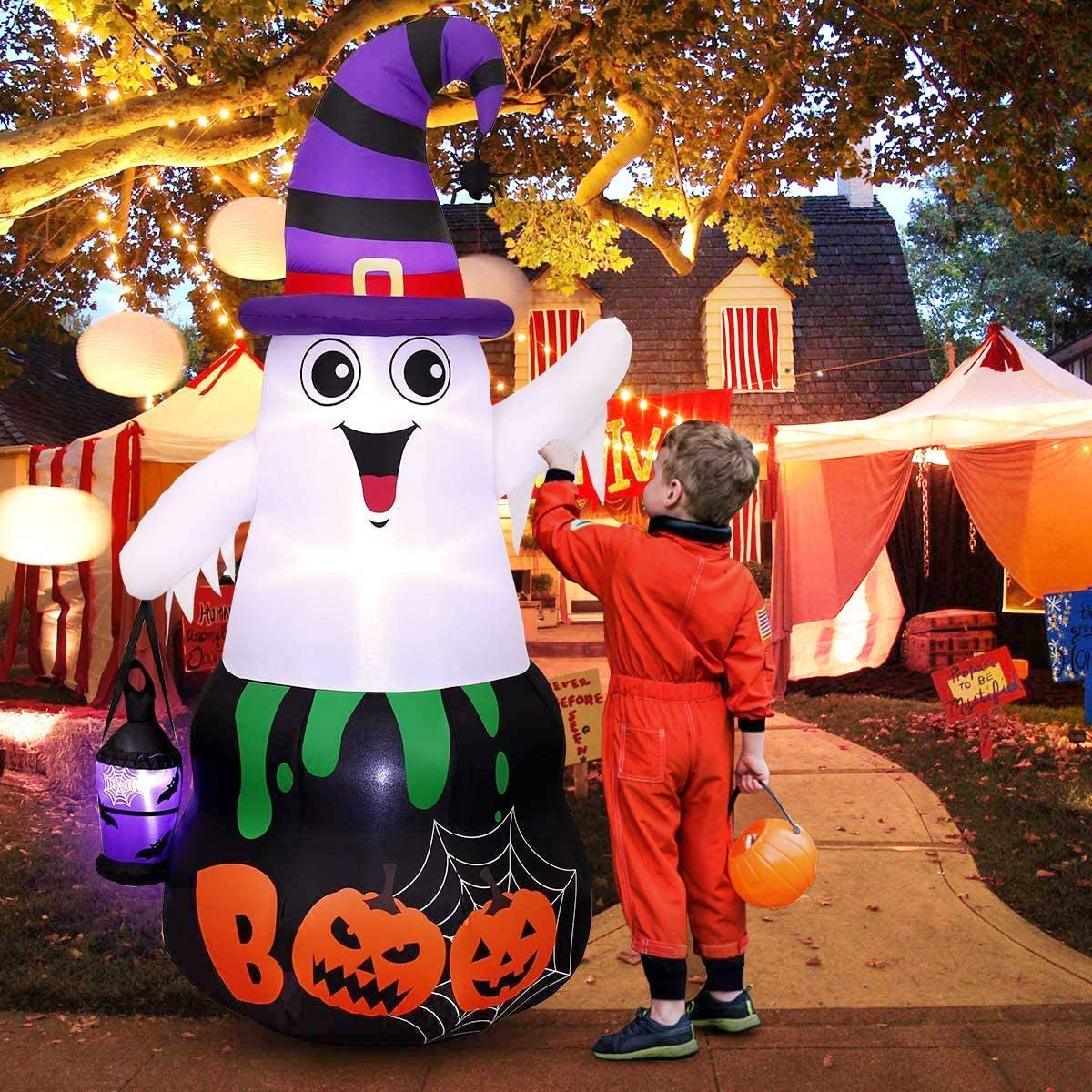 Halloween Inflatables Halloween Blow Up Ghost Decorations, Built in LED Light with Stakes for Outdoor Decorations 5 FT