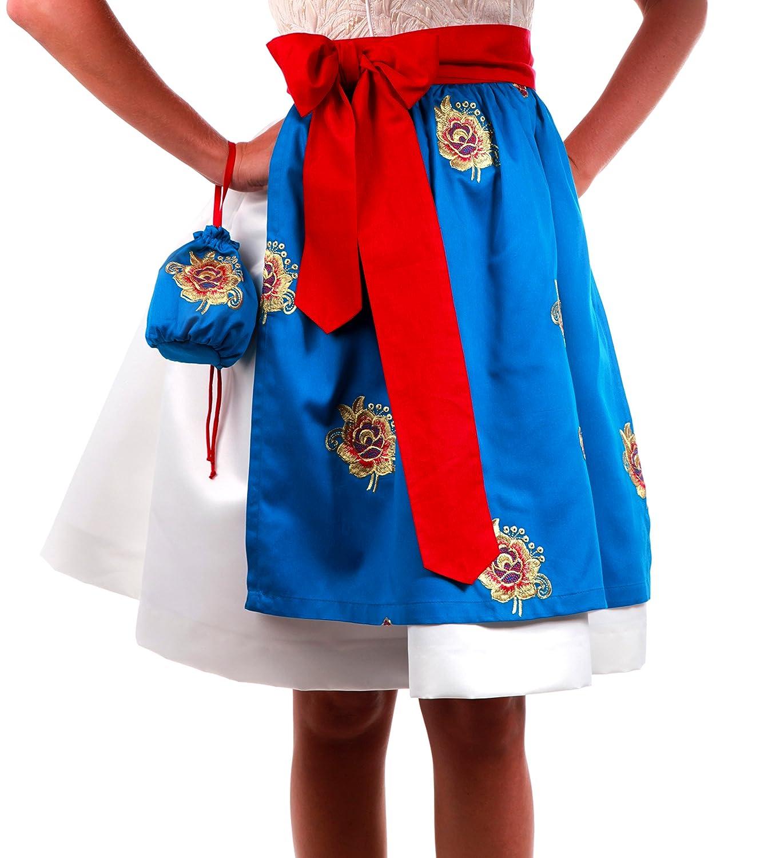 Dirndl Schürze Indiansummer Blue mit Beutel - 2014, Tracht, Midi, Blau, Stickerei Gold und Rot, Gürtel Rot, 55cm lang