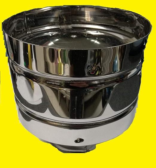 enganche redondo de 80 mm,/hembra Sombrerete antiviento de acero inoxidable AISI 304/5//10/para chimenea