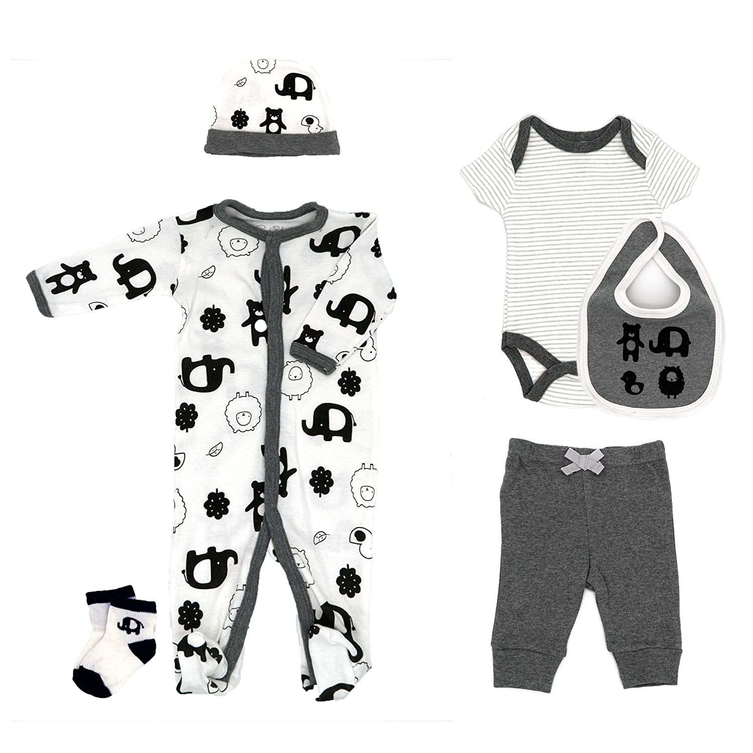 Bib Cap and Socks Pant Coverall 6 Piece Set Bodysuit