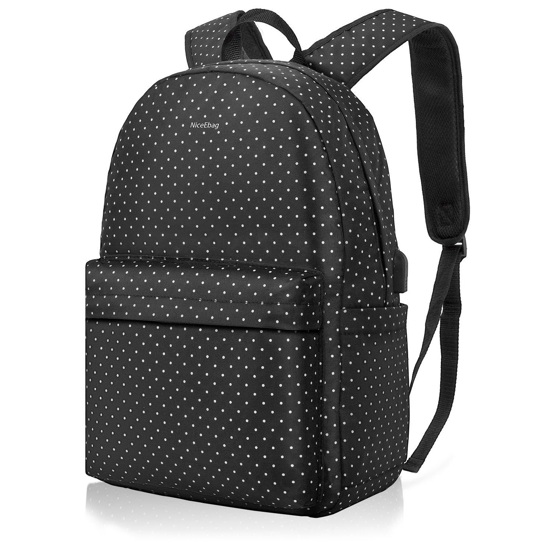 DTBG Laptop Backpack Nylon College School Bookbag Travel Backpack with USB Charging Port, Daypack for Girls Women Fits 15.6 Inches Laptop (Black+ White Dot)