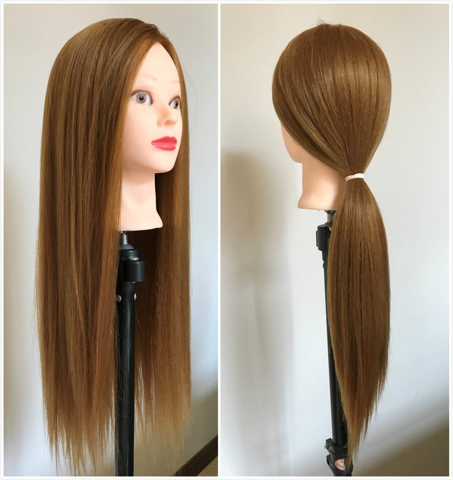 Professional 24 Inches Long 50% Real Human Hair Hairdressing Equipment Styling Head Doll Mannequin Training Head Tools Braiding Cutting Student Practice Model with Clamp(Col. Dark Blonde)